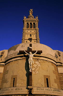 Christ On The Cross Outside The Nortre Dame De La Garde Art Print by Sami Sarkis