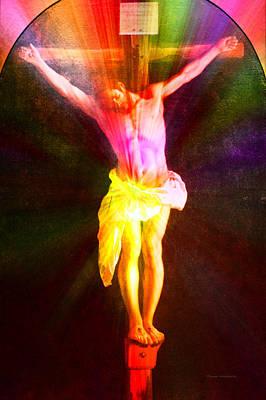 Christ On The Cross Pa Prismatic Burst Vertical Art Print