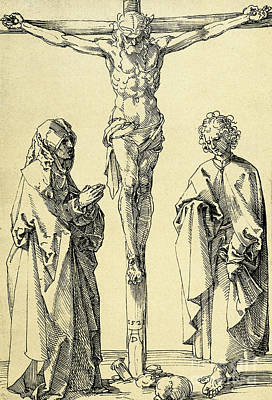 Christianity Drawing - Christ On The Cross With Mary And John The Baptist by Albrecht Durer