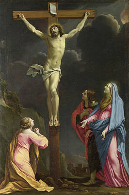 Saint Painting - Christ On The Cross With The Magdalen, The Virgin Mary And Saint by Eustache Le Sueur