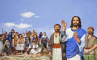 Christ Preaching Art Print by Clive Uptton