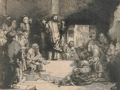 Christ Preaching Print by Rembrandt