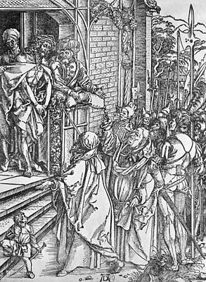 Ecce Homo Drawing - Christ Presented To The People by Albrecht Durer
