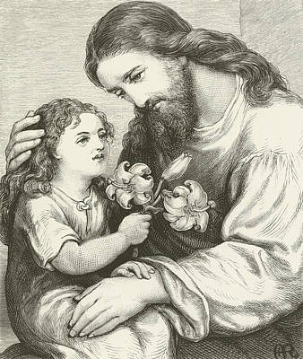 Jesus Christ Drawing - Christ Receiving A Child by English School