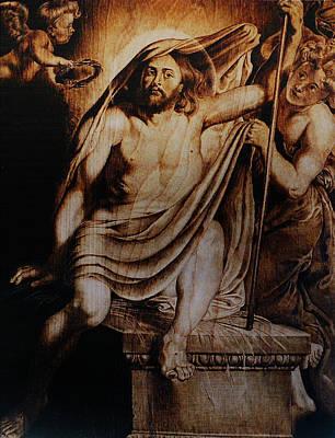 Custom Reproduction Pyrography - Christ Risen by Dino Muradian