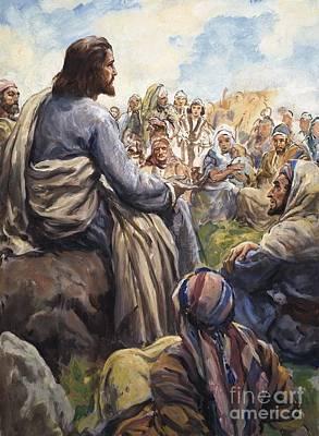 Christ Teaching Print by English School