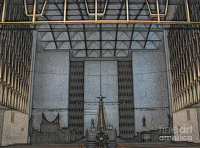 Photograph - Christ The King Seminary Saint John Vianney Chapel Abstract Sketch Effect by Rose Santuci-Sofranko