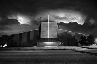 Lightning Photograph - Christ The King Topeka by Thomas Zimmerman