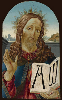 Sandro Botticelli Painting - Christ The Redeemer Blessing by Studio of Sandro Botticelli