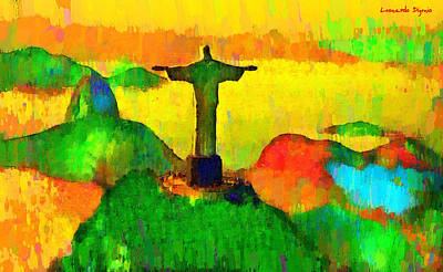Saints Painting - Christ The Redeemer In Rio 4 - Pa by Leonardo Digenio