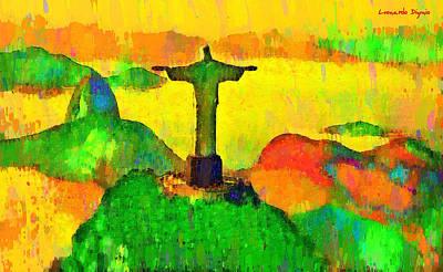Vegetation Painting - Christ The Redeemer In Rio 5 - Pa by Leonardo Digenio