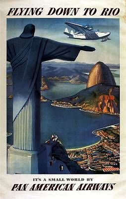 Royalty-Free and Rights-Managed Images - Christ the Redeemer, Rio, Brazil - Pan American Airways - Retro travel Poster - Vintage Poster by Studio Grafiikka