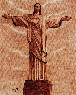 Christ The Redeemer Statue Original Coffee Painting Art Print by Georgeta Blanaru