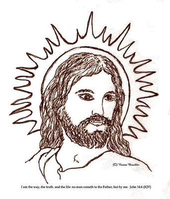 Sepia Ink Drawing - Christ The Savior by Norma Boeckler
