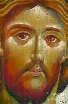 Byzantine Icon Painting - Christ The Saviour by Dragica Micki Fortuna