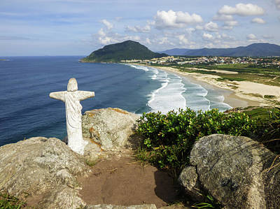 Photograph - Christ Viewpoint At A Beach In Florianopolis, Brazil by Helissa Grundemann