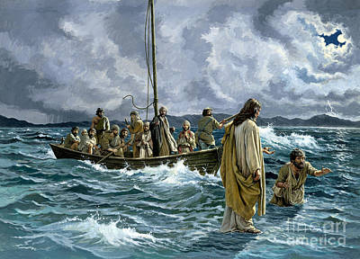 English Gouache Painting - Christ Walking On The Sea Of Galilee by Anonymous