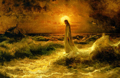 Christ Walking On The Waters Art Print by Julius Sergius Klever