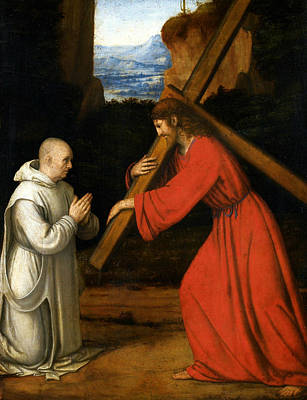 Painting - Christ With Cross Adored By The Carthusian by Andrea Solari