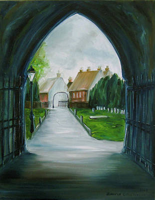 Burial Grounds Painting - Christchurch Priory by Jennifer Christenson
