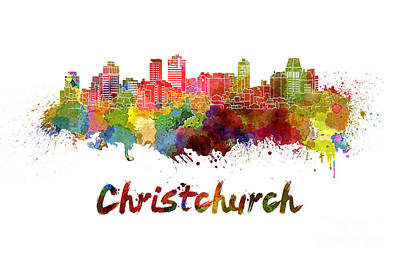 Oceania Painting - Christchurch Skyline In Watercolor by Pablo Romero