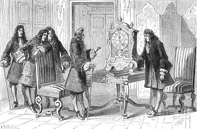 Sun King Photograph - Christiaan Huygens Presents To Louis Xiv by Science Source