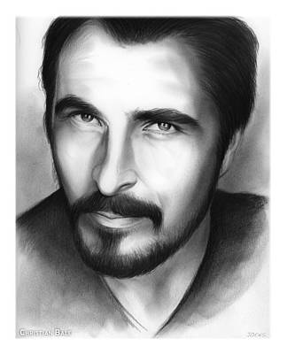 Bales Drawing - Christian Bale by Greg Joens