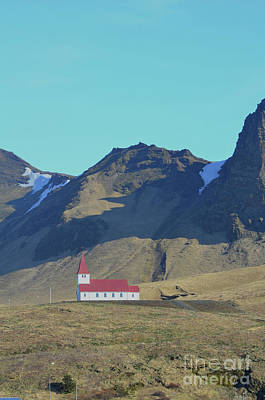 Photograph - Christian Chapel Nestled On The Hills Of Vik Iceland by DejaVu Designs