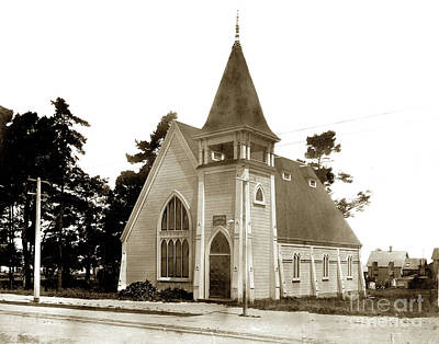 Photograph - Christian Church Pacific Grove Circa 1900 by California Views Mr Pat Hathaway Archives