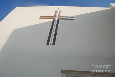 Church Photograph - Christian Cross On Church Santorini Island by Just Eclectic