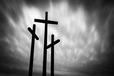 Photograph - Christian Crosses Silhouettes - Rogers Arkansas by Gregory Ballos