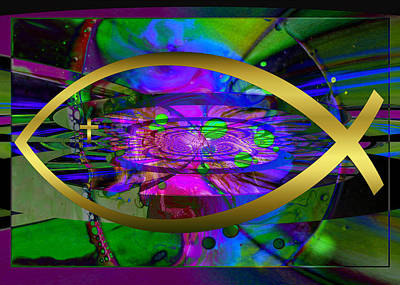 Digital Art - Christian Fish Ichthus by Robert Kernodle