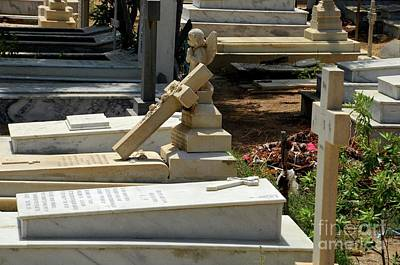 Photograph - Christian Graves With Crosses And Tombstones At Christian Graveyard Cemetery Karachi Pakistan by Imran Ahmed