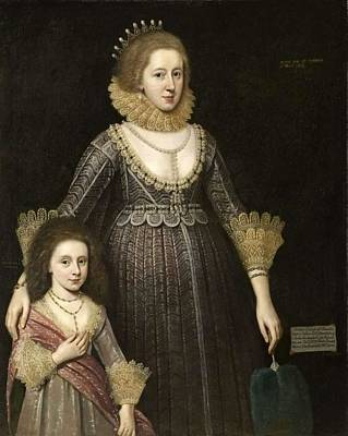 Door Locks And Handles Rights Managed Images - Christian, Lady Cavendish, Later Countess of Devonshire 1598-1675, and Her Daughter by Paul van So Royalty-Free Image by Paul van Somer