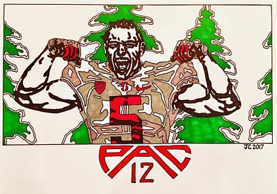 Drawing - Christian Mccaffery Big Fir Edition  by Jeremiah Colley