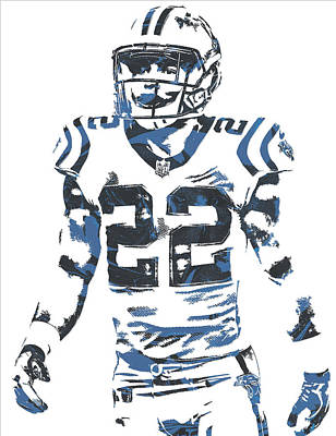 Mixed Media - Christian Mccaffrey Carolina Panthers Pixel Art 2 by Joe Hamilton
