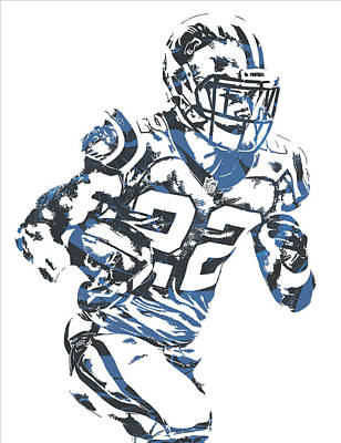 Mixed Media - Christian Mccaffrey Carolina Panthers Pixel Art 3 by Joe Hamilton