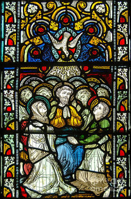 Christian Pentecost On A Stained Glass At Christ Chuch Cathedral Dublin Art Print