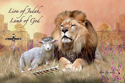 Christian Religious Art Of Jesus Paintings Lion Of Judah Lamb Of God Art Print by Dale Kunkel Art
