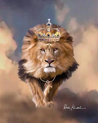 Christian Religious Art Of Jesus Paintings Lion Of Judah - The King Of Kings Print by Dale Kunkel Art