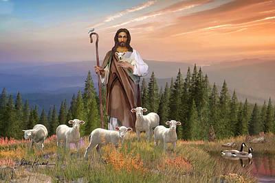 Christian Religious Art Of Jesus Paintings Psalm 23 - The Lord Is My Shepherd Print by Dale Kunkel Art