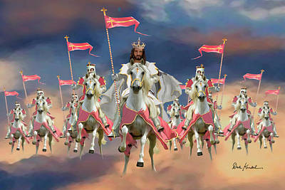 Jesus Art Painting - Christian Religious Art Of Jesus Paintings Salvation Riding On The Clouds by Dale Kunkel Art