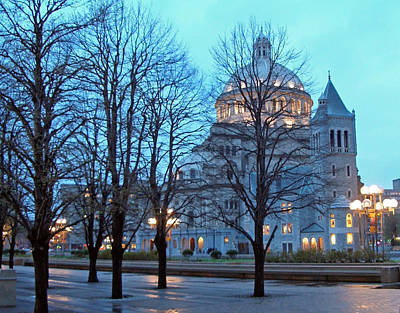 Photograph - Christian Science Center At Night by Frank Winters
