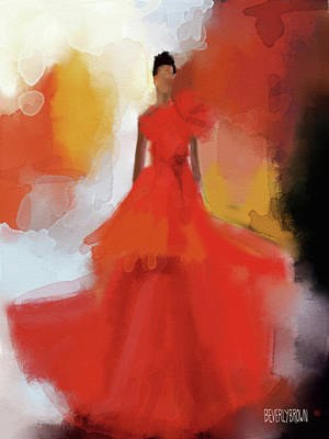 Painting - Christian Siriano Red Dress Fashion Illustration by Beverly Brown Prints