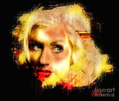 Christina Aguilera - All Thoughts Print by Sir Josef - Social Critic - ART