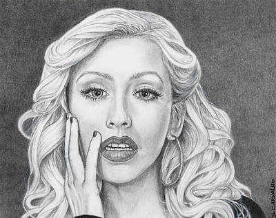 Drawing - Christina Aguilera by Daniel Carvalho