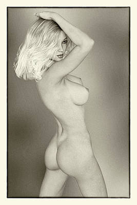 Christina Digital Art - Christina - Elegant Nude - Classic Black And White by Glamour Pinups