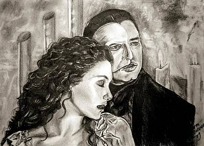 Christine And The Phantom Of The Opera Art Print