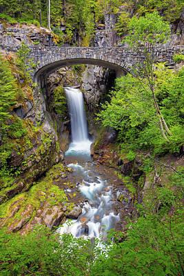 Photograph - Christine Falls Under Bridge In Mt Rainier National Park by David Gn