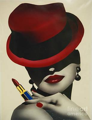 Painted Face Painting - Christion Dior Red Hat Lady by Jacqueline Athmann